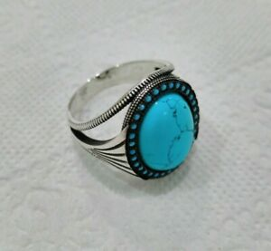 925 Sterling Silver Handmade Turkish Jewelry  Turquoise Stones Men Rings