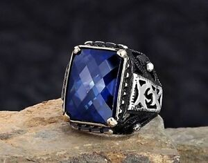 Elegant 925 Sterling Silver Handmade Turkish Jewelry  Sapphire Stone Men Rings