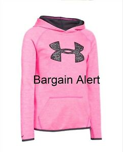 Under Armour Girl's Hoodie STORM SWEATSHIRT PINK BLACK ~ LARGE LOGO ~ SIZE SMALL