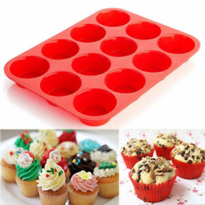 12 Cup Silicone Muffin Cupcake Baking Pan Non Stick Cupcake Microwave Mold Tray