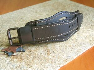 MILITARY WATCH STRAP GENUINE LEATHER CUFF BRACELET BAND 22mm BLACK for SKELETON