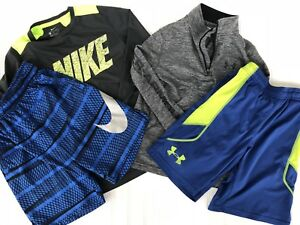 LOT 4 BOYS NIKE  UNDER ARMOUR SHIRTS SHORTS 14 Zip Youth Medium YM