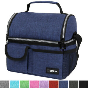 Double Deck Lunch Bag Dual Compartment for Adult Women Men Work Office Insulated $16.99