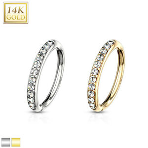 14K. GOLD Hoop NOSE LIP Earrings EAR Helix Daith Cartilage Rook Snug Conch Rings