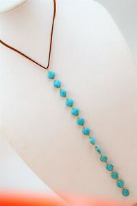 Necklace Turquoise Y-Drop Lariat Gold tone Blue Long Statement Italy NEW
