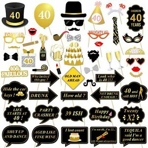 Konsait 40th Birthday Party Photo Booth Props (53Pcs) for Her Him Funny 40 DIY B