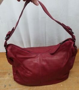 Marzia Red Large Soft Genuine Leather Satchel Handbag Shoulder Bag - Italy