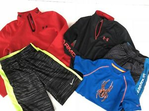 LOT 5 BOYS NIKE UNDER ARMOUR Spyder SHIRTS SHORTS 14 zip Youth SMALL YSM