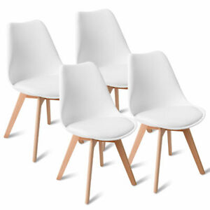 Set of 4 Mid Century Dining Side Armless Chairs DSW Modern Wood Legs White New $129.95