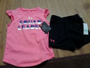 NWT Girls Under Armour 2pc Shirt loose shorts Outfit  18m squad leader-pinkblk