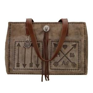 American West Hand Tooled Leather Cross My Heart Shopper Tote Handbag