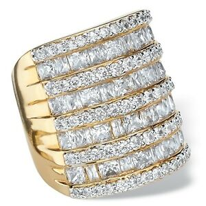 6.26 TCW Cubic Zirconia 14k Gold-Plated Channel Cocktail Ring