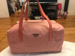 Prada pink nylon and leather trim handbag w dust bag and authenticity card
