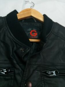 G by Guess All Black Leather Men's Jacket Size Medium Varsity Great Quality