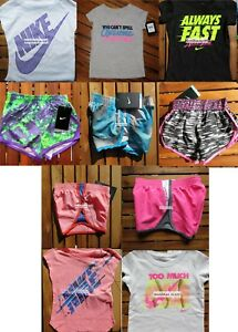 NIKE GIRLS 3T ~ 10pc SUMMER RUNNING SHORTS  T-SHIRTS ~ PINK ~ NWT ~$226