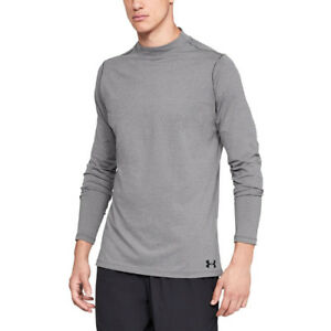 Under Armour Mens ColdGear Fitted Mock Shirt Grey Sports Gym Warm Breathable
