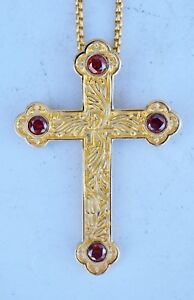 + Ornate Gold Plated Bishops Pectoral Cross w Chain + (CU758)