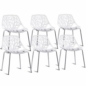 Set Of 6 Birch Sapling Plastic Dining Side Chairs Stackable Accent Armless White