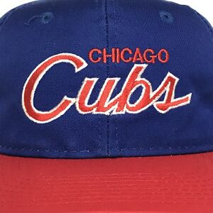 VINTAGE Chicago Cubs Script Hat Snapback Cap 90s MLB Baseball SPorts Specialties