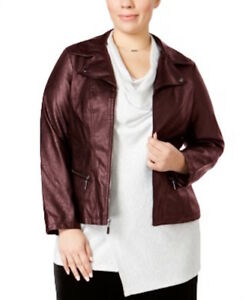 Alfani Women's Plus Size Faux Leather Moto Jacket - New Wine - Size 2X
