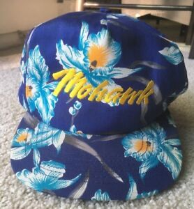VINTAGE 1980s MOHAWK FLORAL SNAPBACK ADJUSTABLE CAP HAT vtg hawaiian tropical