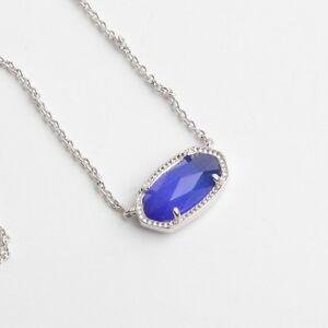 Kendra Scott Elisa Silver Pendant Necklace In Cobalt Cats Eye Blue New Dust Bag