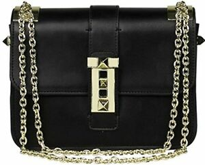 Lush Leather Punk Stud Push Tab Shoulder Black Bag