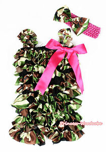 Baby Girl Brown Green Camouflage Satin Romper Hot Pink Bow Accessory Set NB 3Y