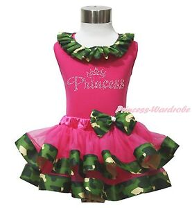 Rhinestone Princess Hot Pink Top Camouflage Satin Trim Girl Skirt Outfit NB 8Y