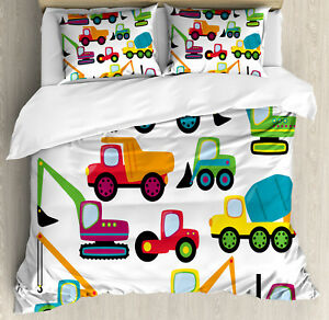Construction Duvet Cover Set with Pillow Shams Cute Equipment Print