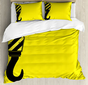 Construction Duvet Cover Set with Pillow Shams Hook Striped Frame Print
