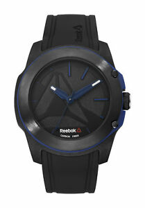 Reebok Double Under Mens Black amp; Blue Watch Silicone Strap RD DUN G2 CBIB BN $97.43
