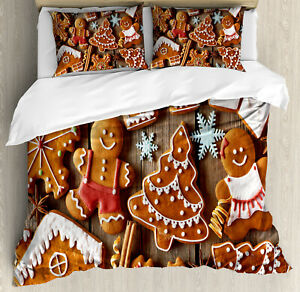 Gingerbread Man Duvet Cover Set with Pillow Shams Cookies Snow Print