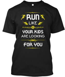 Premium Funny Running T S Run Like Your Kids Are Hanes Tagless Tee T Shirt $18.99