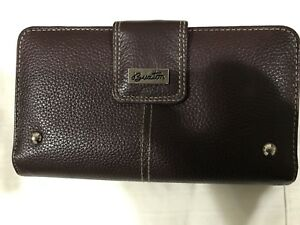 Buxton  Women's Leather Slim Double Zip Clutch Wallet Brown Genuine Leather!!