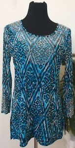 NWT International Concepts Turquoise Blue Nylon Studded Long Sleeve Blouse Sz L