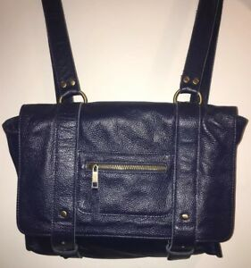 VERE VERTO Navy Blue Leather Repetto Convertible Backpack Messenger Purse.