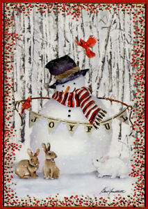 Joyful Snowman and Rabbits Box of 14 Embossed Gold Foil Christmas Cards $13.99