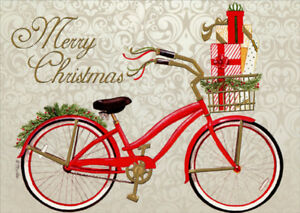 Christmas Cruiser Red Bicycle Marla Shega Embossed Gold Foil Christmas Card $2.95