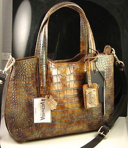 Valentina Made In Italy Croco Pattern Leather Satchel Shoulder Hand Bag NWT