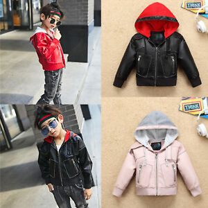 2018 New Kids Boys Girls Casual Cool Leather Jacket Hooded Biker Coat Outerwear