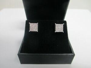 14K White Gold 1.00 CT TW Princess Cut Diamond Earrings