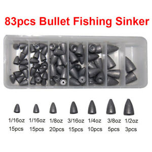 83pcs Lead Fishing Sinkers For Texas Rig Carp Fishing Bullet Shaped Weights Box