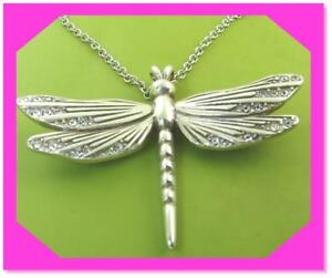 BRIGHTON SOLSTICE DRAGONFLY Crystal Silver Pendant NECKLACE NWtag  New Style $58