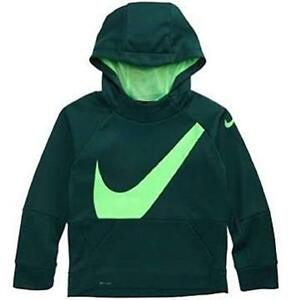 NIKE Dri Fit Toddler Boys Green Therma Dry Swoosh Hoodie Hooded Shirt 2T New