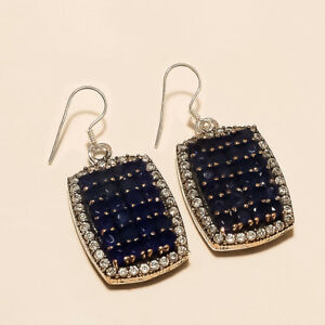 Natural Ceylon Blue Sapphire Earrings 925 Sterling Silver Turkish Fine Jewelry