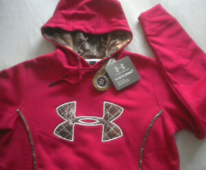 NWT $65 Women's UNDER ARMOUR STORM 1 Real Tree CAMO HOODIE Red MEDIUM Cold Gear