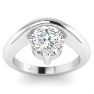 Platinum Unusual Floating Designer Round Diamond Engagement Ring - 1.75 ct DSI1
