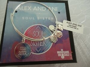 Alex and Ani SOUL SISTER Shiny Silver Charm Bangle New W Tag Card amp; Box $26.00