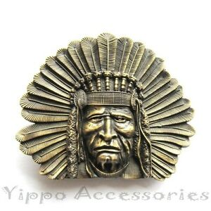 Bronze Indian Chief Head Western Indian Metal Fashion Belt Buckle